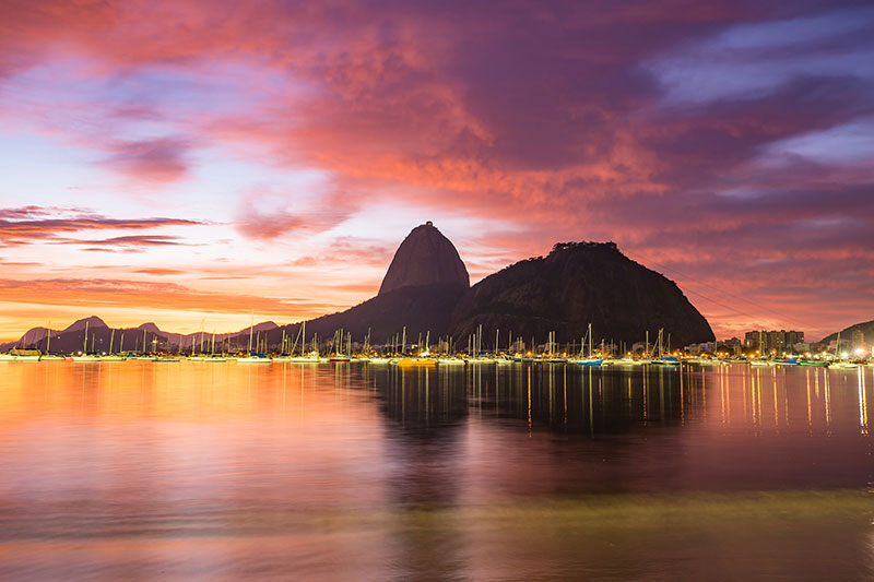 Boats in the harbour of Rio Brazil